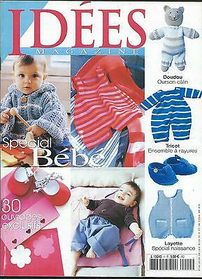 Idees Magazine Special Bebe 30 Ouvrages Tricot Doudou Layette Couture