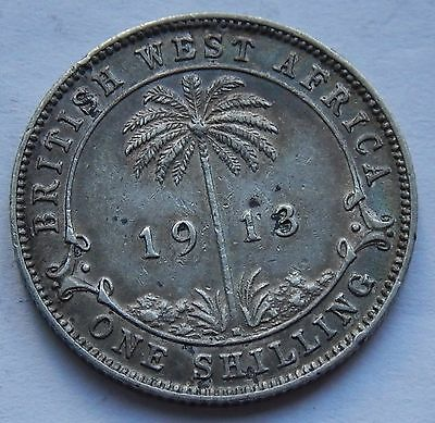 British West Africa Shilling 1913 H .925 Silver