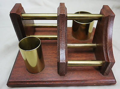 Wood and Brass Pipe and Accessories Rack