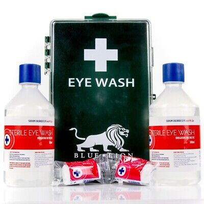 EYE WASH EMERGENCY TREATMENT KIT + WALL BRACKET Sterile Saline Work First Aid