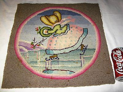 # 4/Set Antique Usa Country Primitive Winter Ice Skates Girl Art Hook Rug Carpet