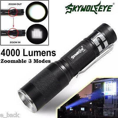 Skywolfeye Zoomable 4000LM XM-L Q5 3 Mode LED Flashlight Torch Light Lamp