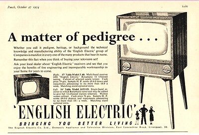 ENGLISH ELECTRIC TELEVISION SETS - Models T.40 & 16T11D     (1954 Advertisement)