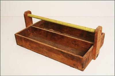 Vintage WOOD TOOLBOX Tote handle caddy country chic wooden planter box bin tool