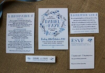 SAMPLE Personalised Wedding Invites Rustic Floral day/evening, envelopes inc.
