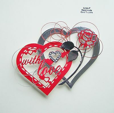 """valentines Day"" 3D Hearts, Flower & Wire Design Card Craft Topper Val 08/17"