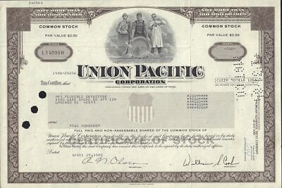 UNION PACIFIC CORPORATION   Utah dd 1960s - old stock certificate