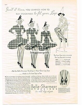 1937 BELLE-SHARMEER Stockings Nylons Hosiery art Vtg Print AD