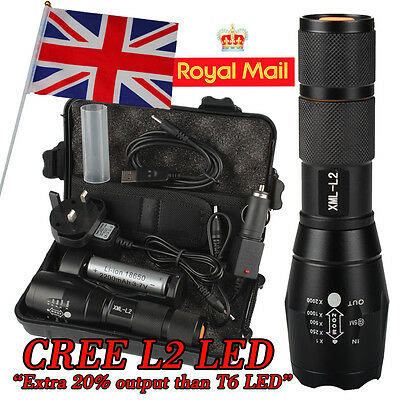 UK 6000LM Shadowhawk X800 CREE L2 LED ZOOM Flashlight Torch Powerful battery