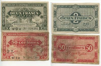 GB366 - Banknote French Algerie 50 Centimes + 2 Francs 1944 Algerien RAR