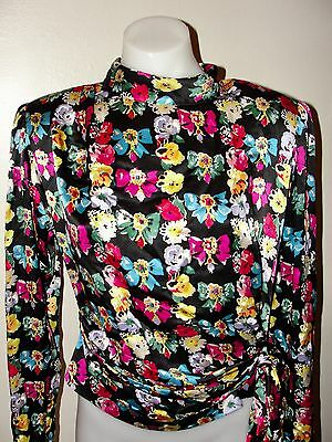VINTAGE 90s UNGARO TER *LOVELY!!FLORAL& BOW JEWEL RUCHED SILK SHIRT BLOUSE 6/ 40