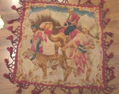 Vintage Tapestry Of 3 Men, A Camel, And A Tiger/  Beautiful Color / Fringed Edge
