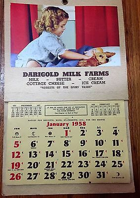 3 Old Picture Advertising Calendars - Cows, Ducks, Girl w/ Cocker Spaniel