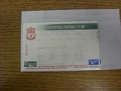 06/01/2001 Ticket: Liverpool v Rotherham United [FA Cup] (folded). Any faults wi