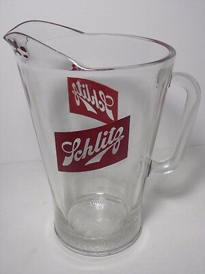 VINTAGE 1960s SCHLITZ GLASS BEER PITCHER MILWAUKEE WISCONSIN BREWERY BAR BARWARE
