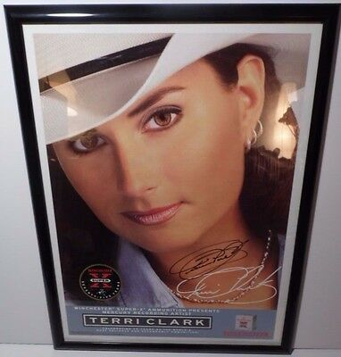 1997 Terri Clark Signed Framed Country Music Winchester Advertising Sign Poster