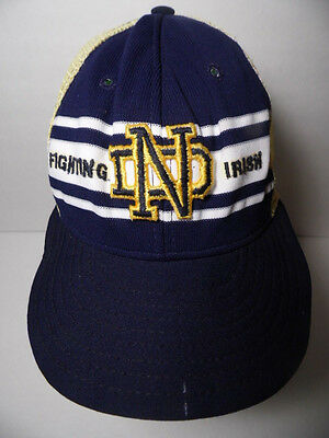 Vintage 1980s NOTRE DAME Fighting Irish NCAA LOGO SNAPBACK TRUCKER HAT AJD CAP