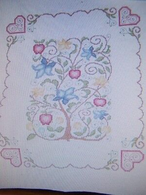 HERRSCHNERS TREE OF LIFE LAP QUILT TOP STAMPED CROSS STITCH 34x43  PENN. DUTCH