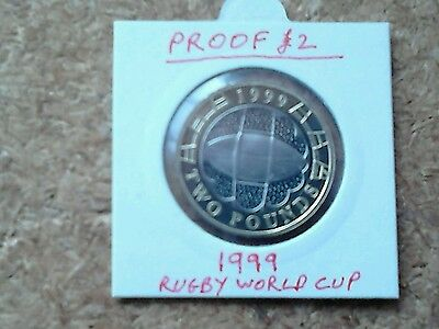 1999 Proof Rugby World Cup Two Pound £2 Coin.