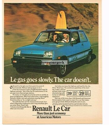 1981 Renault LE CAR Blue 2-door Vtg Print Ad
