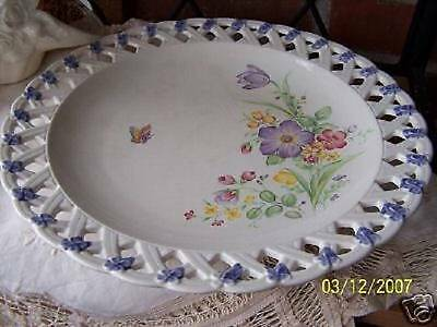Beautiful Basket Weave Edged Large Serving Plate...JAPAN