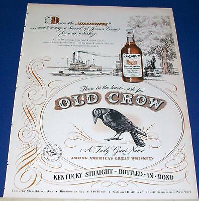 1941 Old Crow KY Whiskey down the Mississippi Ad