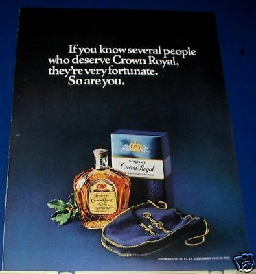 1977 Seagram's Crown Royal blue sack Ad
