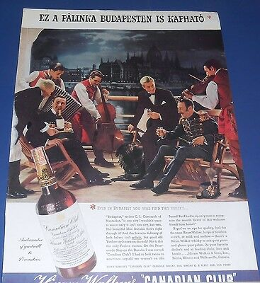 1937 Canadian Club Whisky Ad BUDAPEST /Lucky Strike Alice Roosevelt Longworth
