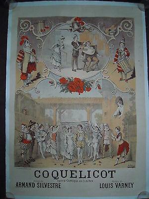 Affiche Poster Lithographie 1882 Music Musical Theatre Operette Opera-Comique