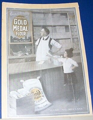 1917 Gold Medal Flour grocer & young girl grocery store WWI era Ad