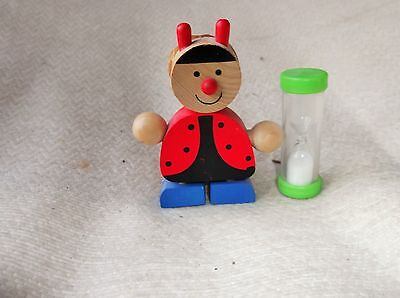 Collectable Cute Little Egg Timer Wooden Ladybird With Toothpick Holder