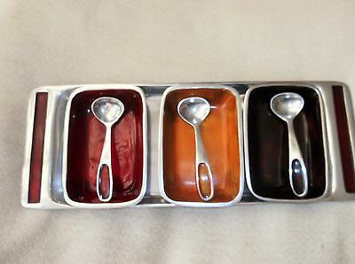 Retro Enamelled Aluminium Shallow Oblong Tray With 3 Matching Dishes & Spoons