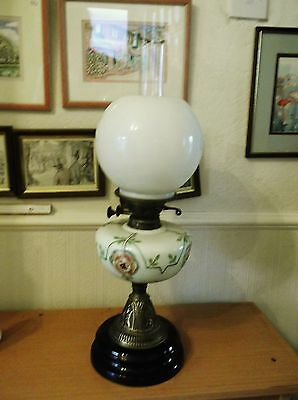 Antique Victorian Oil Lamp Handpainted Green Opaque Glass Heavy Black Base 23""