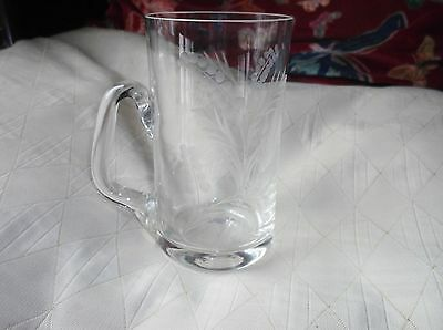 Vintage Elegant Etched Lead Crystal Glass Tankard Ferns Design 5.5""
