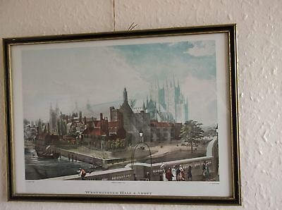 Large Tinted Framed Print Of Westminster Hall & Abbey D Havell J Gendall 1819