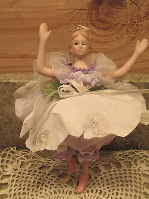 "Porcelain Lavender Fairy 6.5"" Hanging CHRISTMAS TREE ORNAMENT Beautiful"