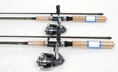 2 Shimano Sienna 500 Ultra Light Spin Fishing Reels, 5.6ft Rods NEW