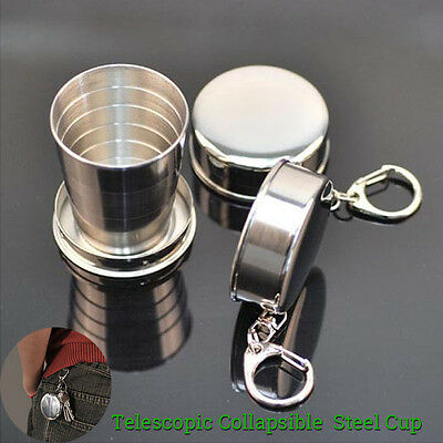 Stainless Steel Travel Telescopic Collapsible Shot Glass Emergency Pocket Cup