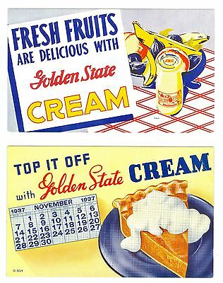 2 1937 Unused Colorful Golden State Dairy Advertising Ink Blotters