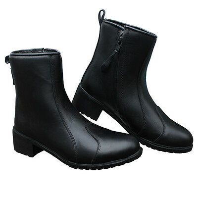 New Womens Waterproof Motorcycle Leather Boot  with side zip size 5 to 10