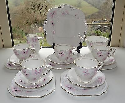 Grafton A B Jones Fine Bone China 18 Pc Teaset Cups Saucers Plates Milk 1930s