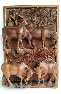 Large Vintage Indian Wooden Carving of Cows, Wall Plaque, 45.5 cm by 30 cm.