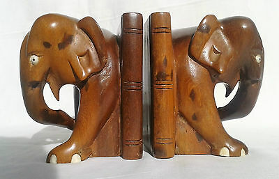 Vintage Matching Pair of Wooden Elephant Book Ends.