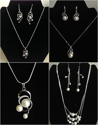 Pearl Jewelry Sets Wedding Accessories Silver Plated Necklace Earrings