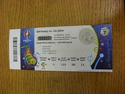 12/06/2016 Ticket: Euro 2016, Germany v Ukraine [At Stade Pierre Mauroy - Lille