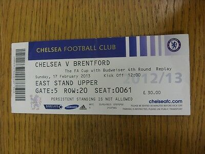 17/02/2013 Ticket: Chelsea v Brentford [FA Cup Replay] (Creased, Folded). Thanks