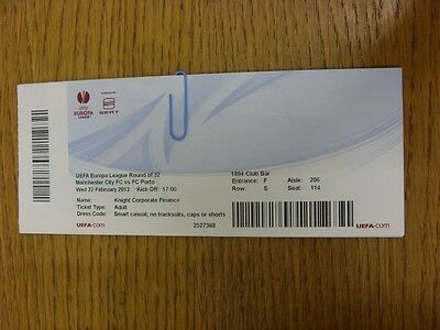 22/02/2012 Ticket: Manchester City v FC Porto [Europa League] (1894 Club Bar). T