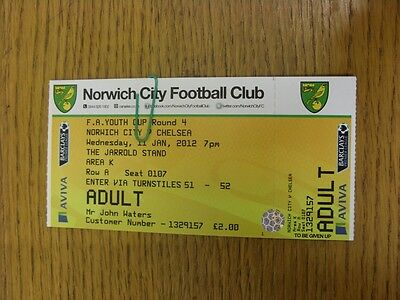 11/01/2012 Ticket: Norwich City Youth v Chelsea Youth [FA Youth Cup] . Thanks fo