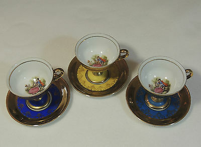 3 Royal Vienna Beaded Hand Painted Footed Colonial Couple Tea Cup & Saucer EUC