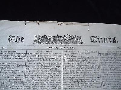 The Times antique newspaper 1797 Nore naval mutiny Richard Parker execution navy